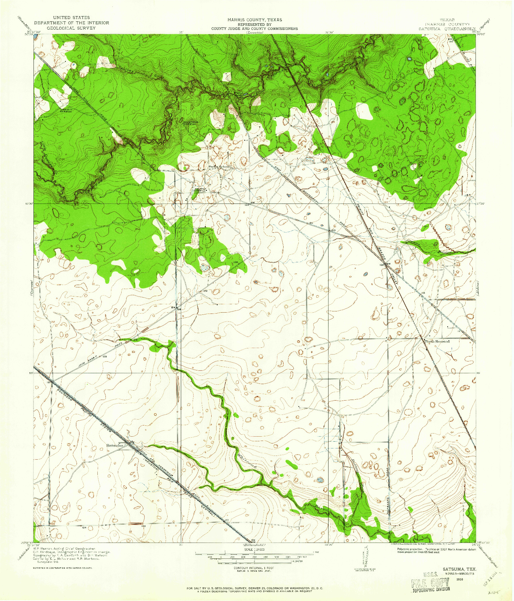 USGS 1:24000-SCALE QUADRANGLE FOR SATSUMA, TX 1916
