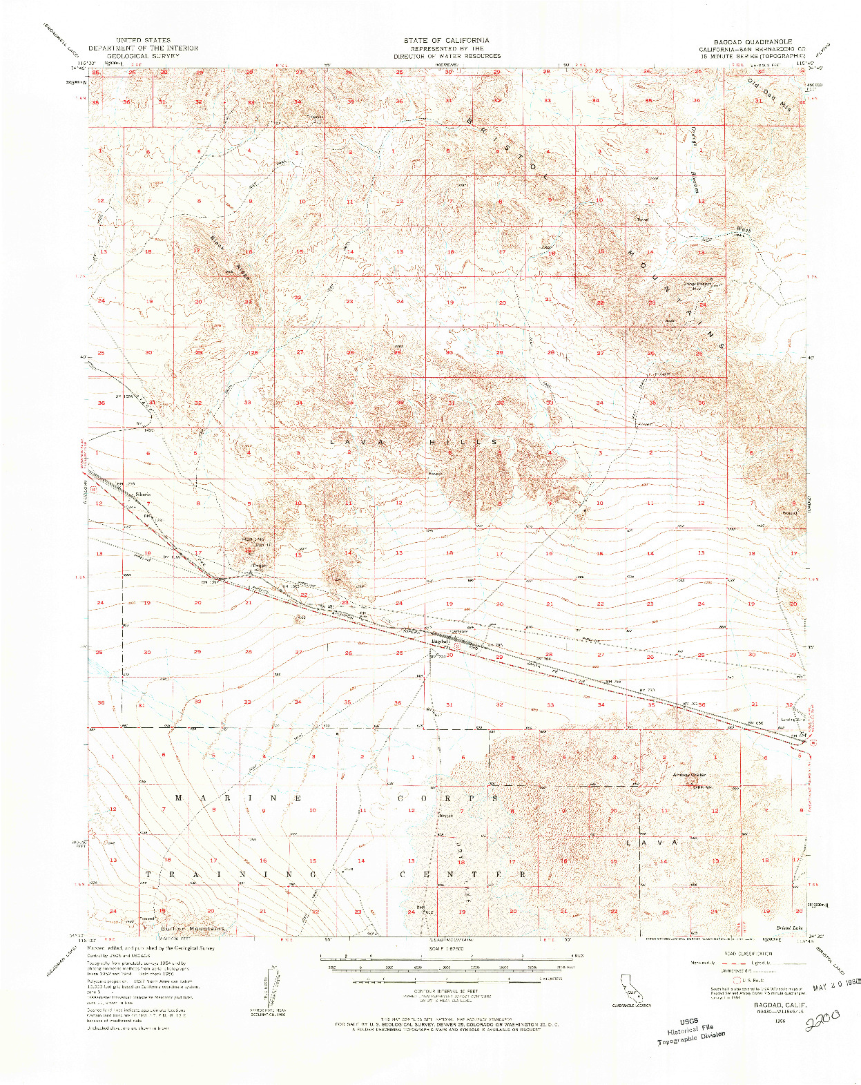 USGS 1:62500-SCALE QUADRANGLE FOR BAGDAD, CA 1956