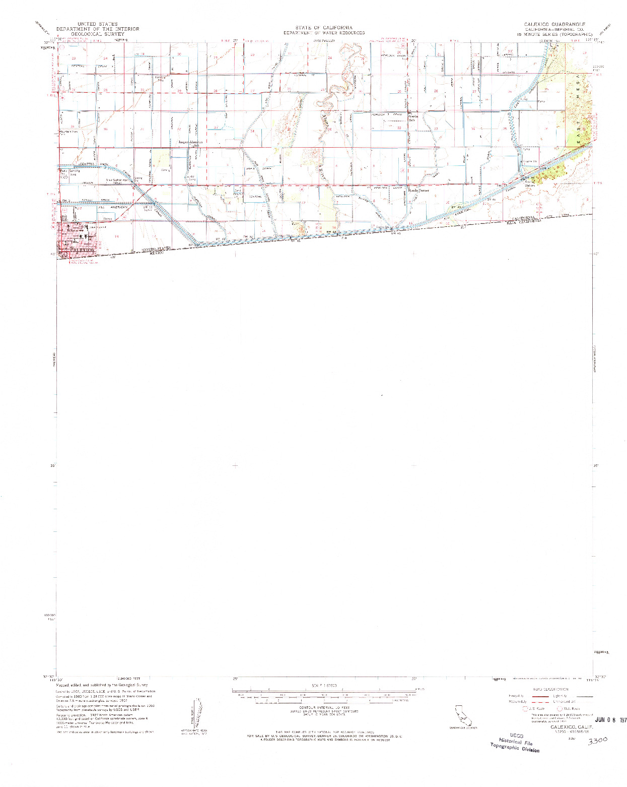 USGS 1:62500-SCALE QUADRANGLE FOR CALEXICO, CA 1957