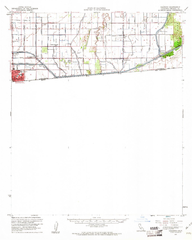 USGS 1:62500-SCALE QUADRANGLE FOR CALEXICO, CA 1957