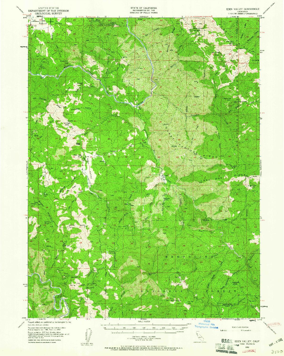 USGS 1:62500-SCALE QUADRANGLE FOR EDEN VALLEY, CA 1952