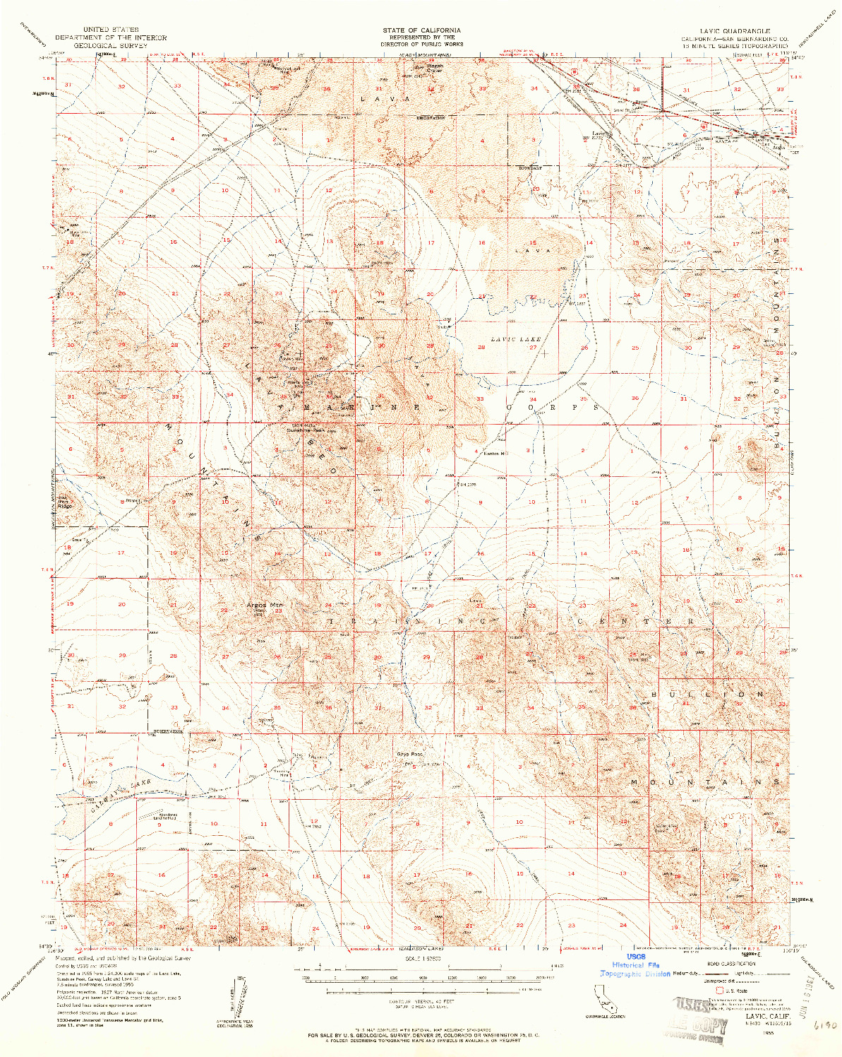 USGS 1:62500-SCALE QUADRANGLE FOR LAVIC, CA 1955