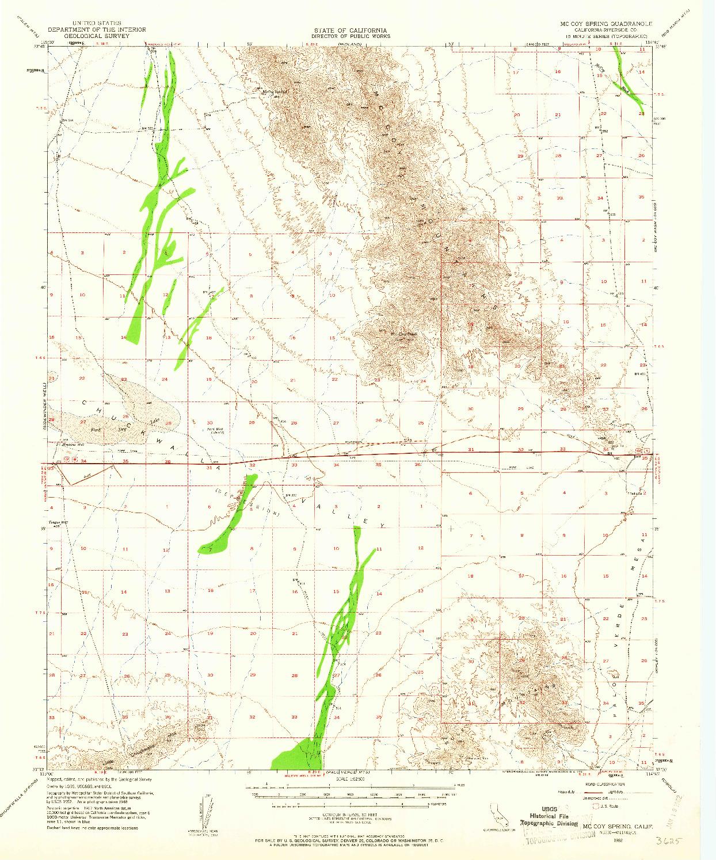 USGS 1:62500-SCALE QUADRANGLE FOR MCCOY SPRING, CA 1952