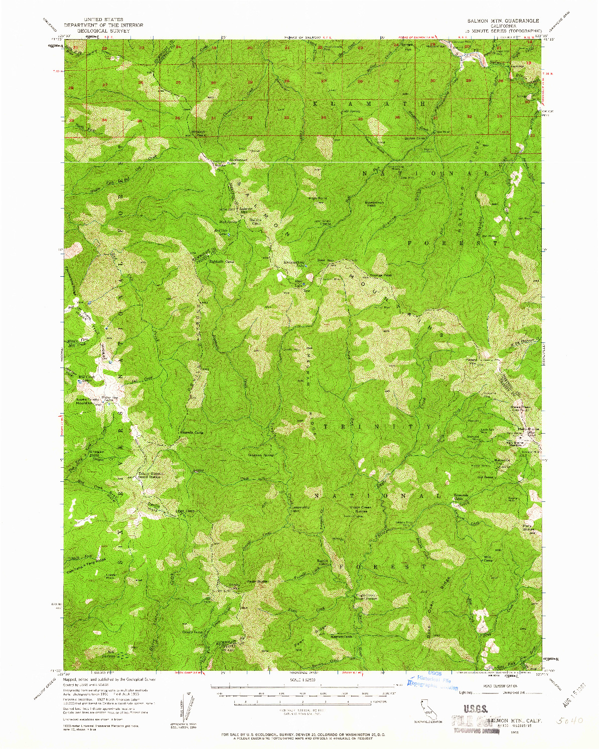 USGS 1:62500-SCALE QUADRANGLE FOR SALMON MTN, CA 1955