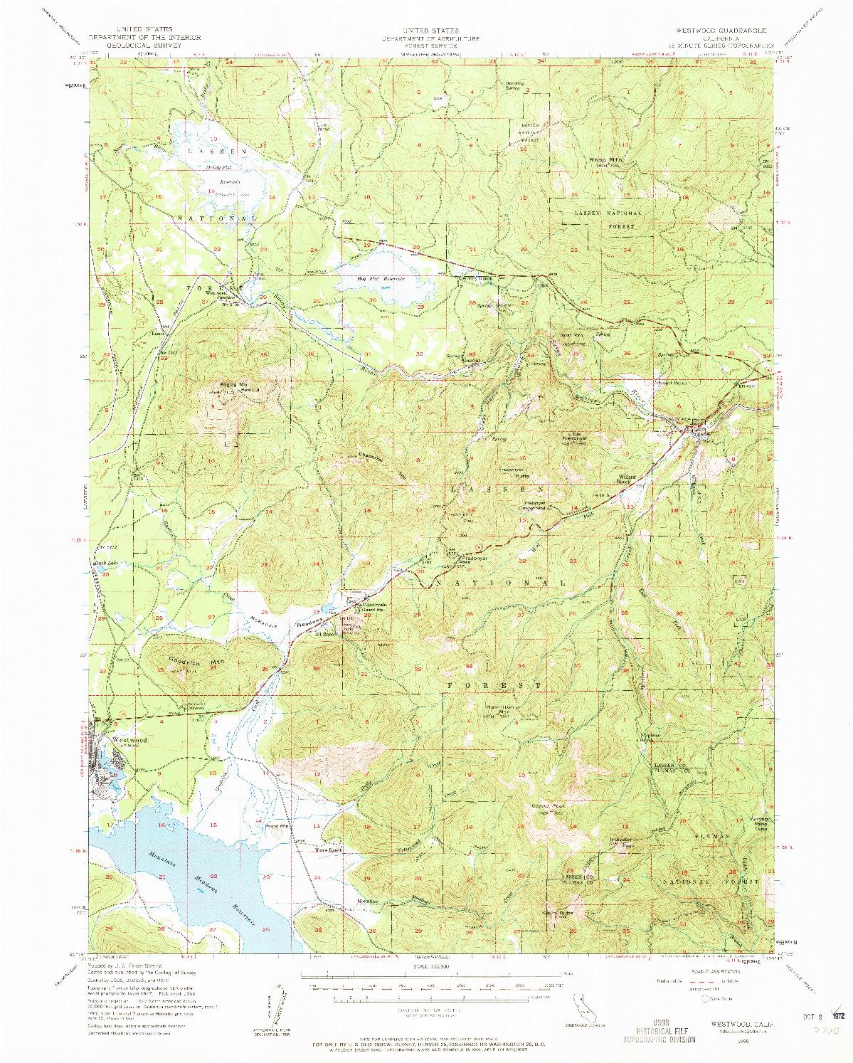 USGS 1:62500-SCALE QUADRANGLE FOR WESTWOOD, CA 1955