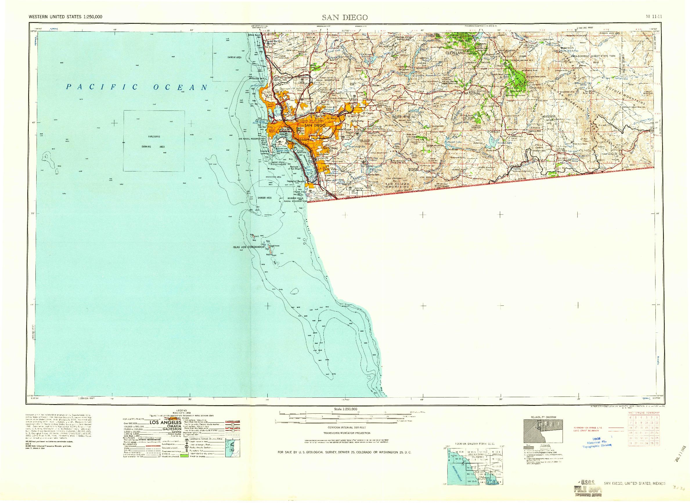 USGS 1:250000-SCALE QUADRANGLE FOR SAN DIEGO, CA 1958