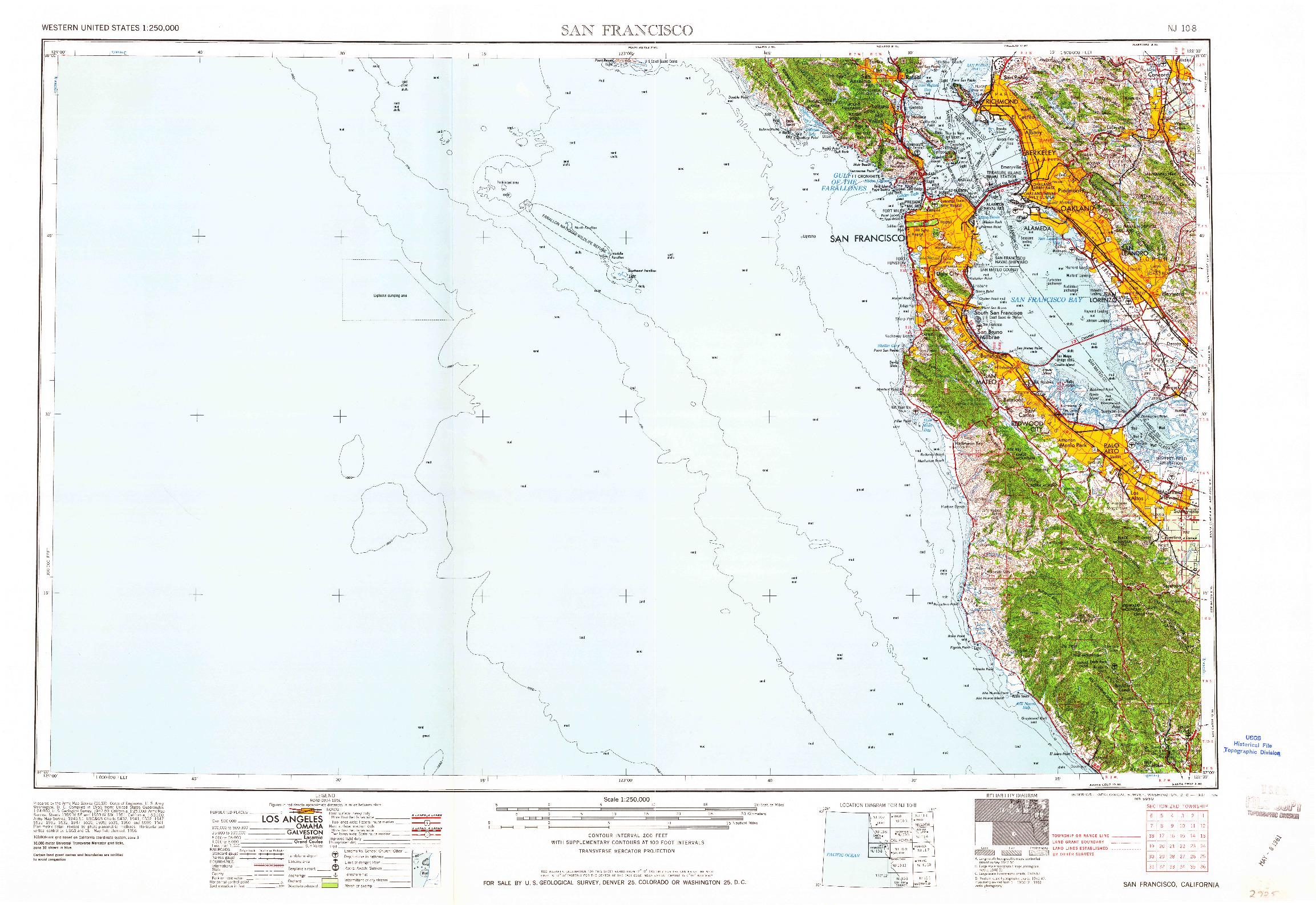 USGS 1:250000-SCALE QUADRANGLE FOR SAN FRANCISCO, CA 1961