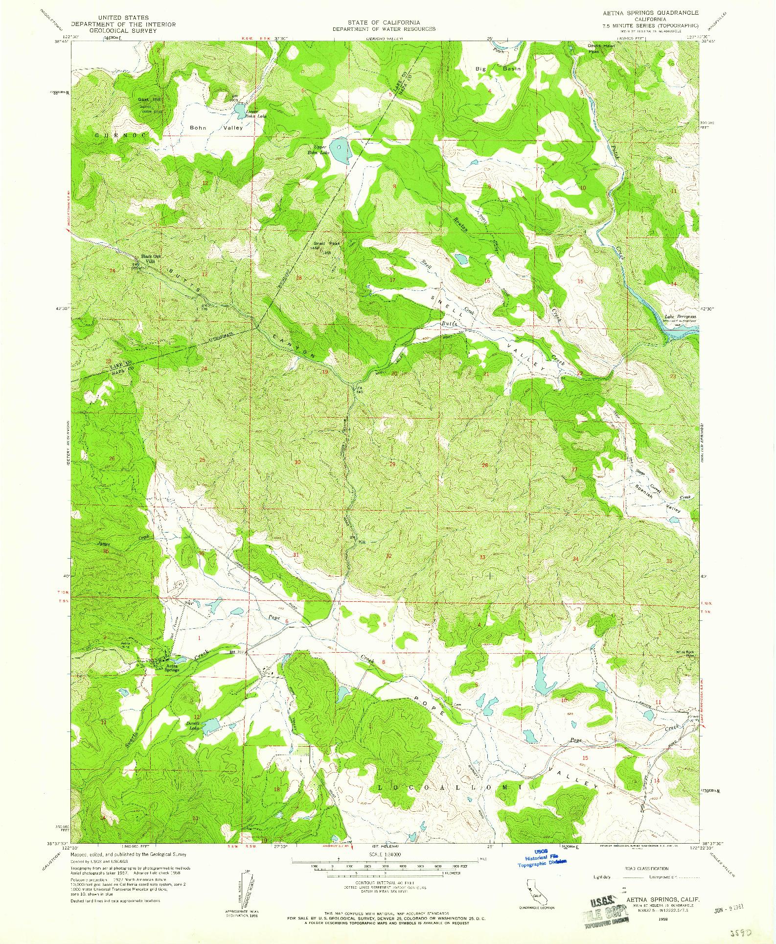 USGS 1:24000-SCALE QUADRANGLE FOR AETNA SPRINGS, CA 1958