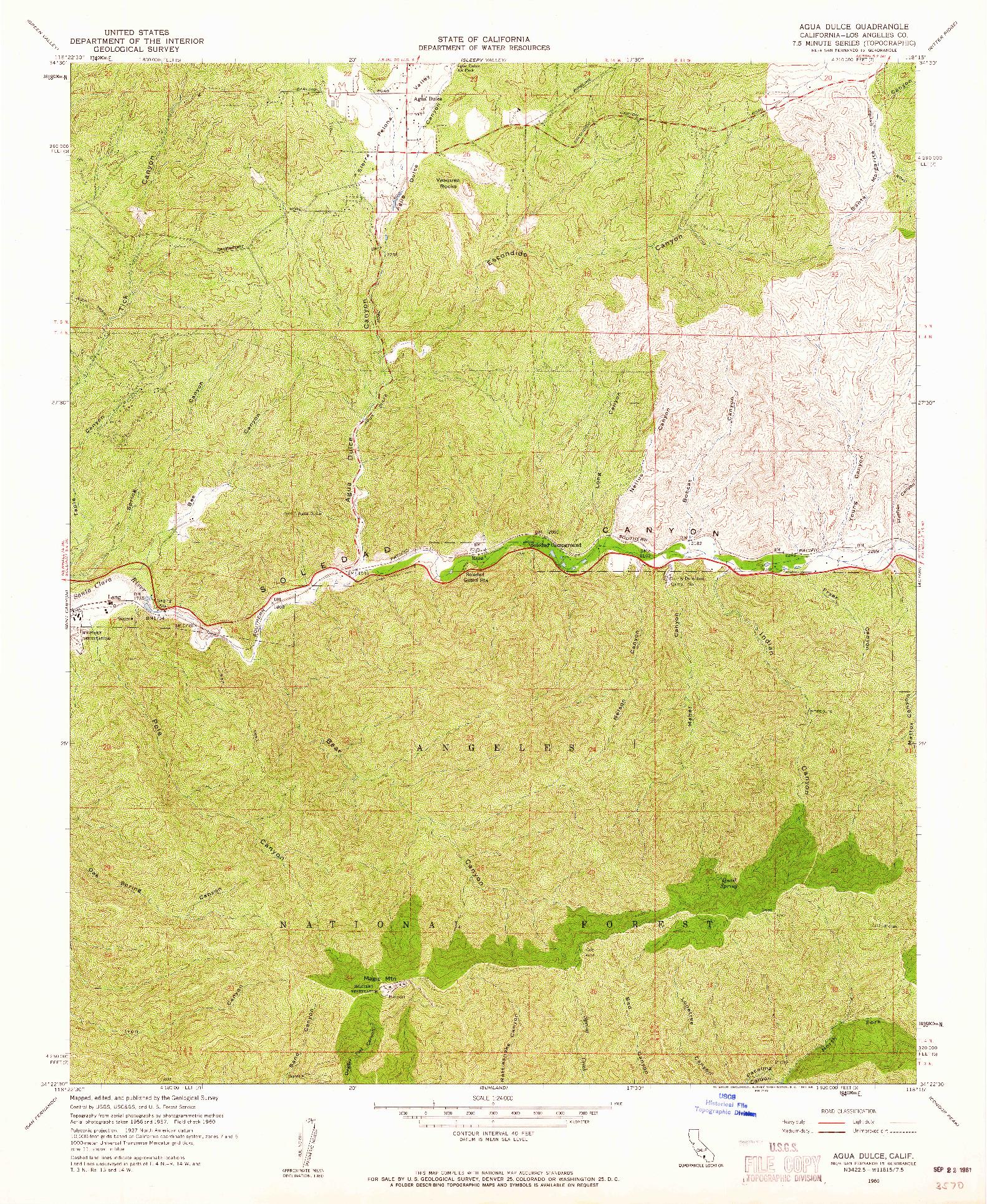USGS 1:24000-SCALE QUADRANGLE FOR AGUA DULCE, CA 1960