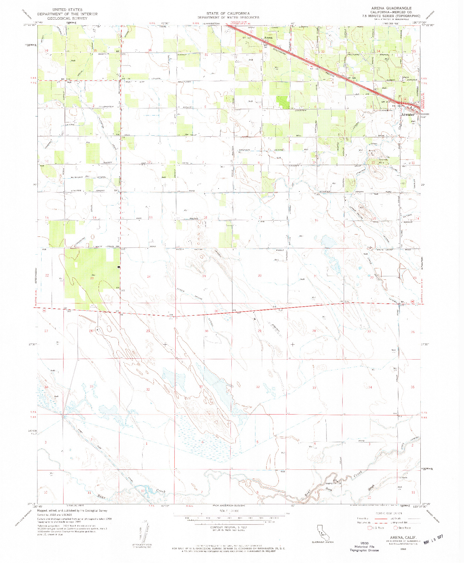 USGS 1:24000-SCALE QUADRANGLE FOR ARENA, CA 1960