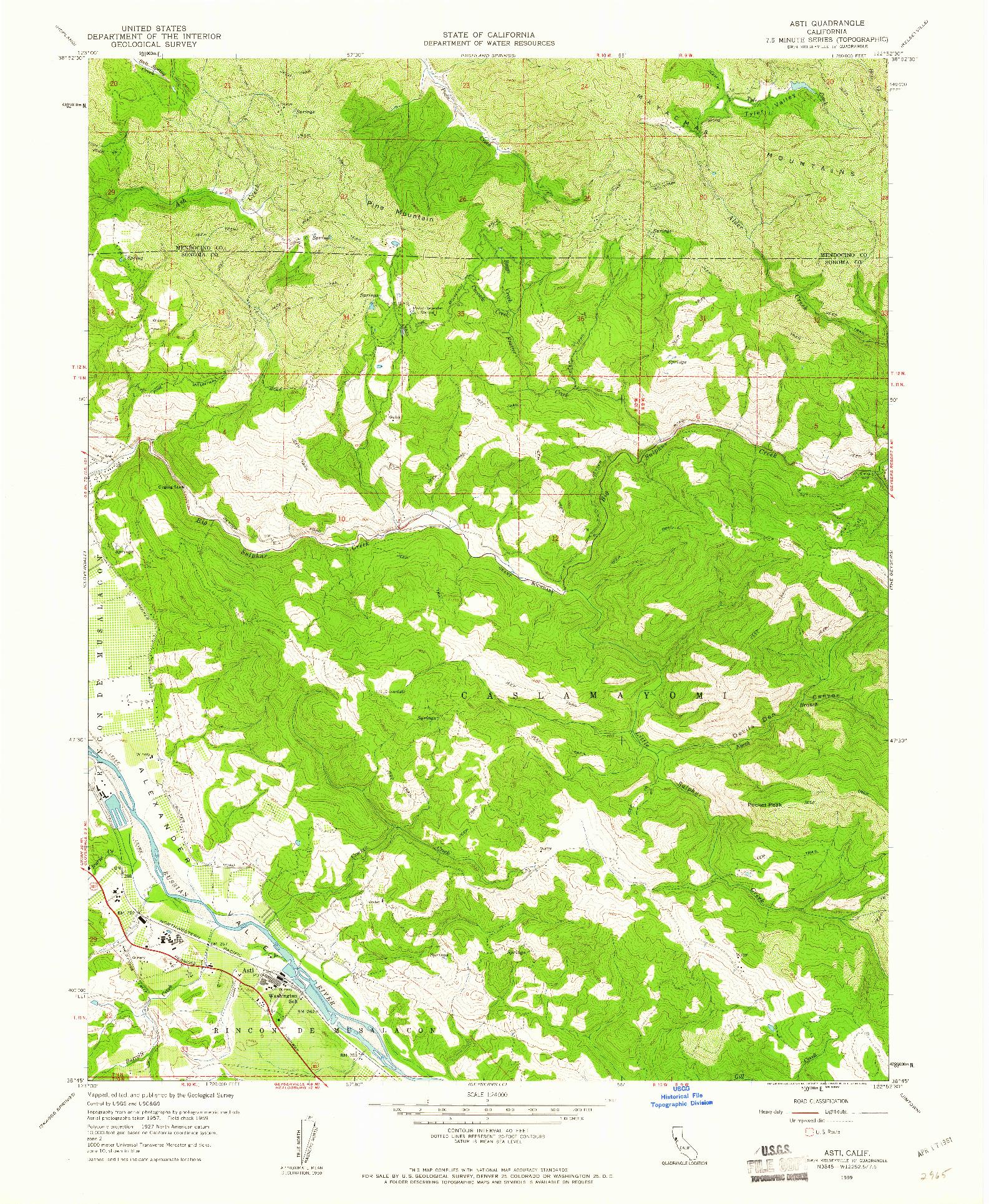 USGS 1:24000-SCALE QUADRANGLE FOR ASTI, CA 1959