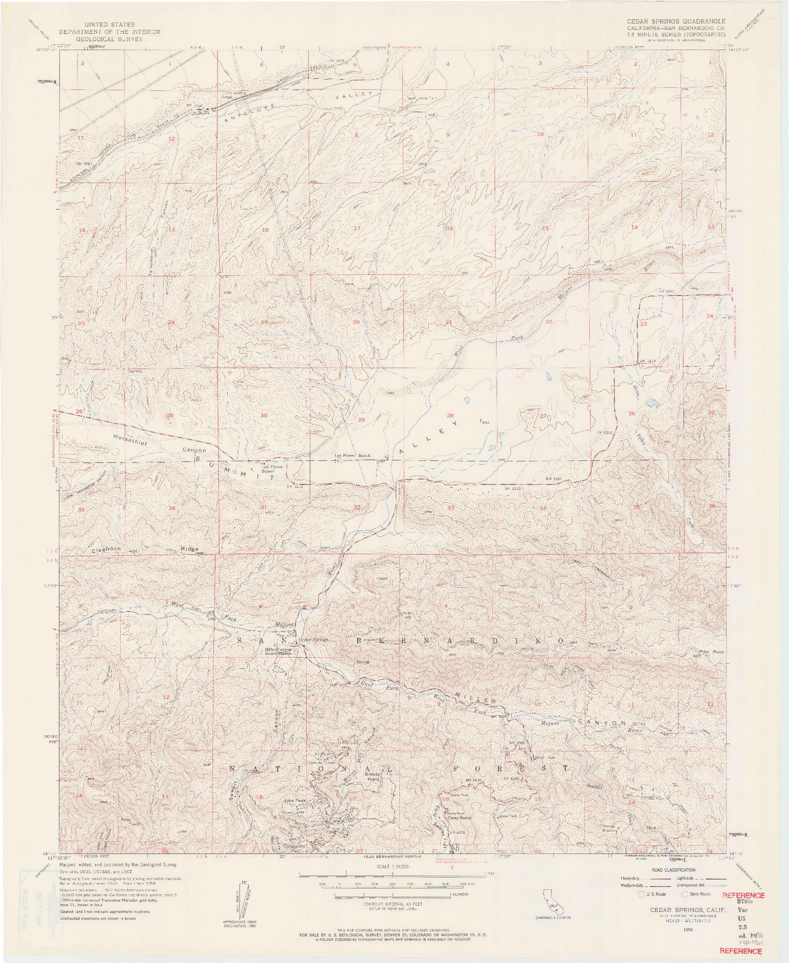 USGS 1:24000-SCALE QUADRANGLE FOR CEDAR SPRINGS, CA 1956