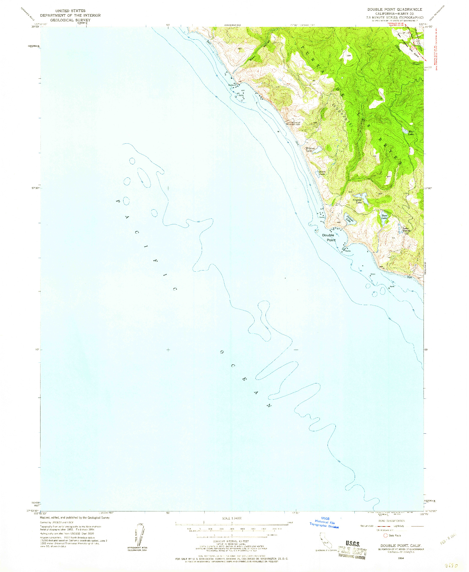 USGS 1:24000-SCALE QUADRANGLE FOR DOUBLE POINT, CA 1954