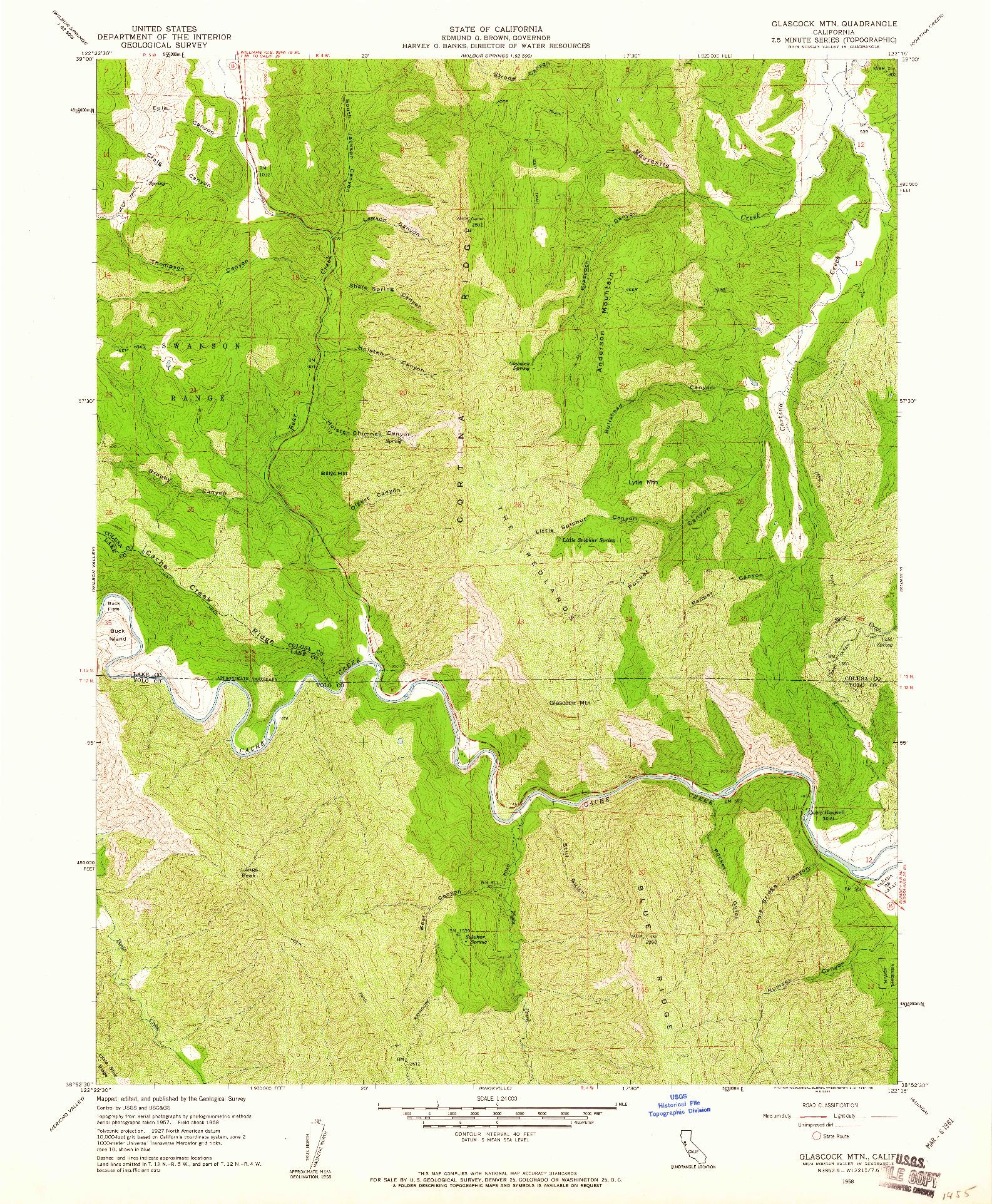 USGS 1:24000-SCALE QUADRANGLE FOR GLASCOCK MTN, CA 1958