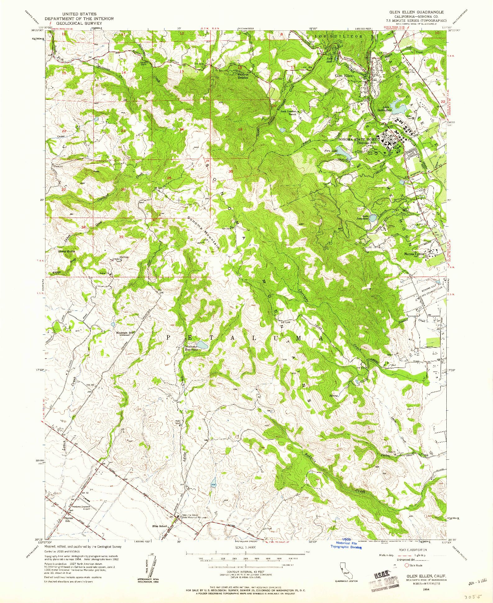 USGS 1:24000-SCALE QUADRANGLE FOR GLEN ELLEN, CA 1954