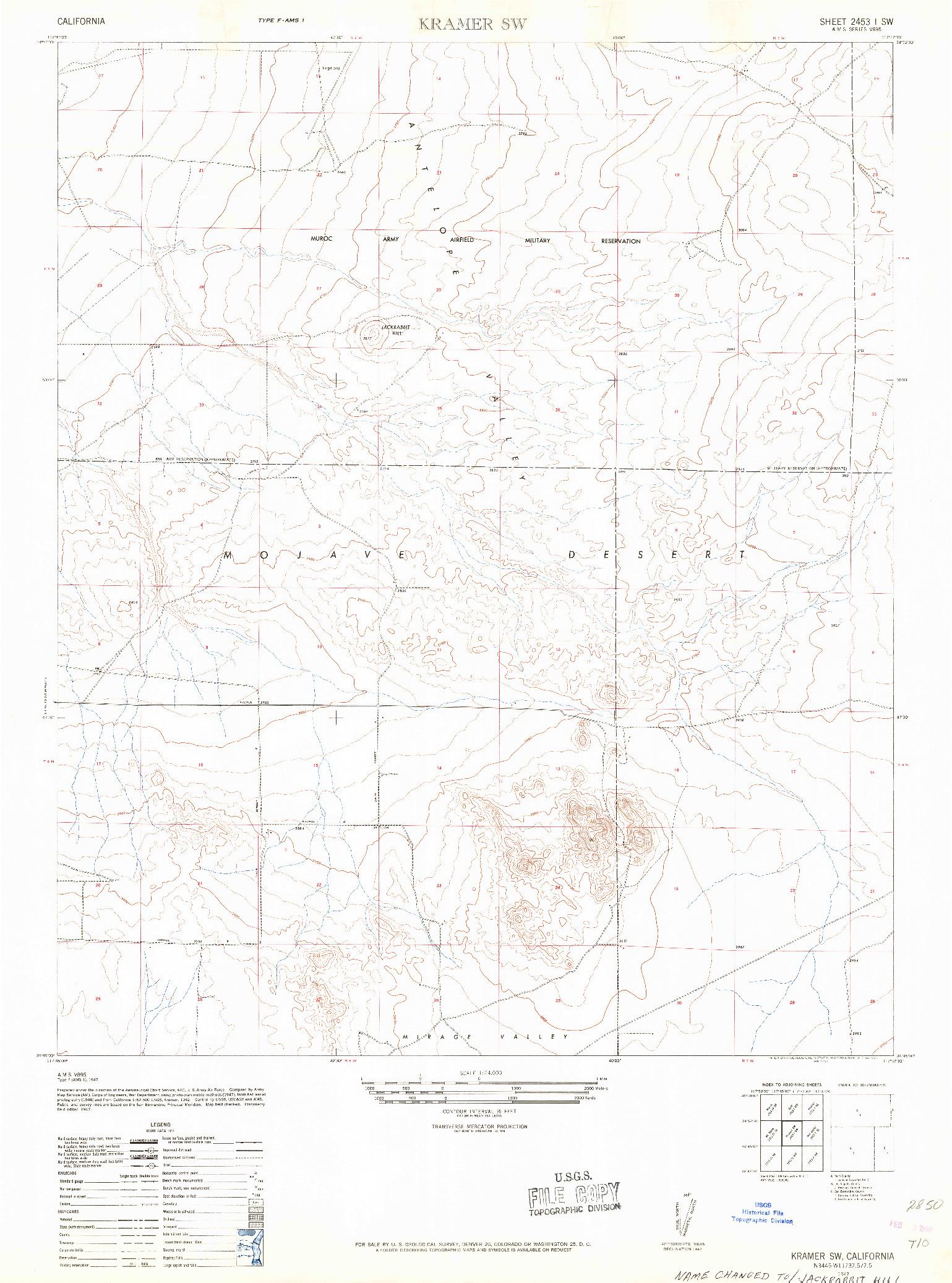 USGS 1:24000-SCALE QUADRANGLE FOR KRAMER SW, CA 1947