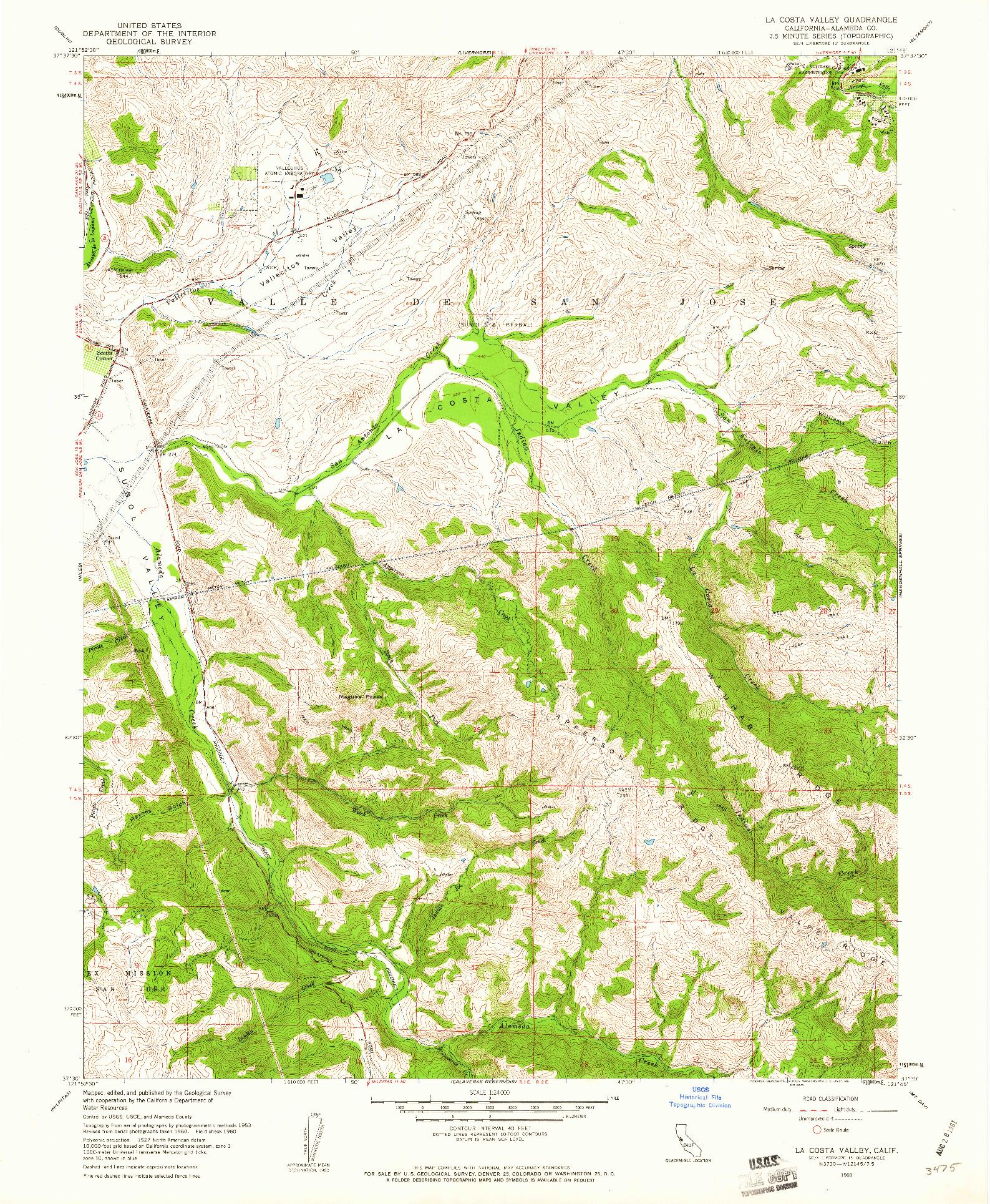 USGS 1:24000-SCALE QUADRANGLE FOR LA COSTA VALLEY, CA 1960