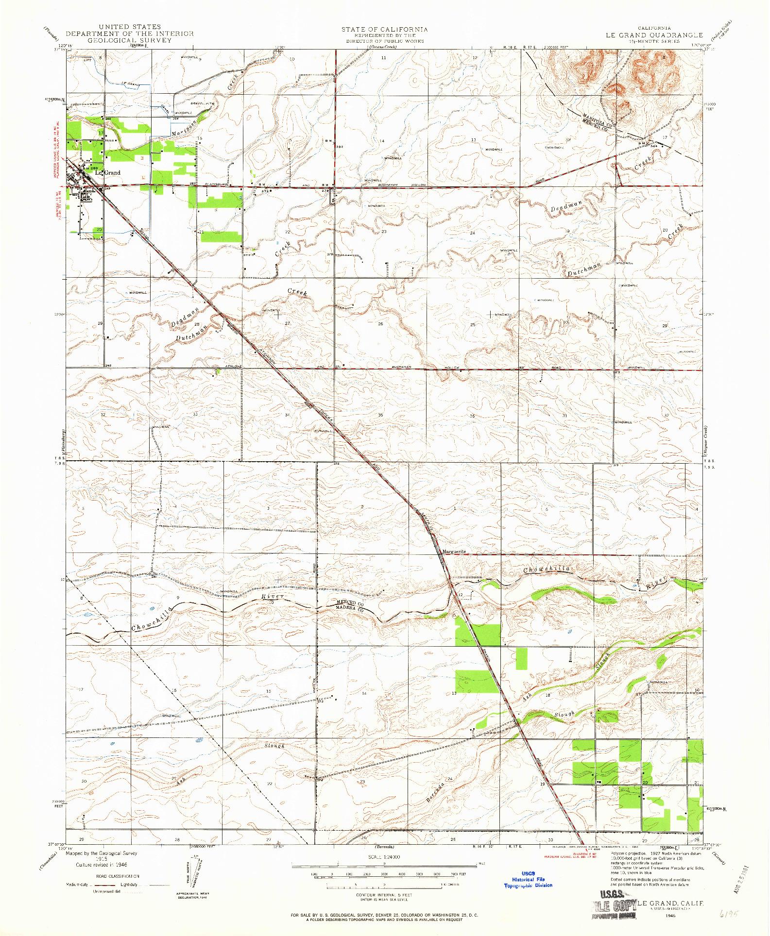 USGS 1:24000-SCALE QUADRANGLE FOR LE GRAND, CA 1946