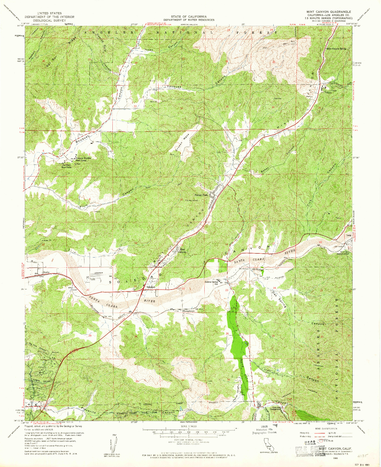 USGS 1:24000-SCALE QUADRANGLE FOR MINT CANYON, CA 1960