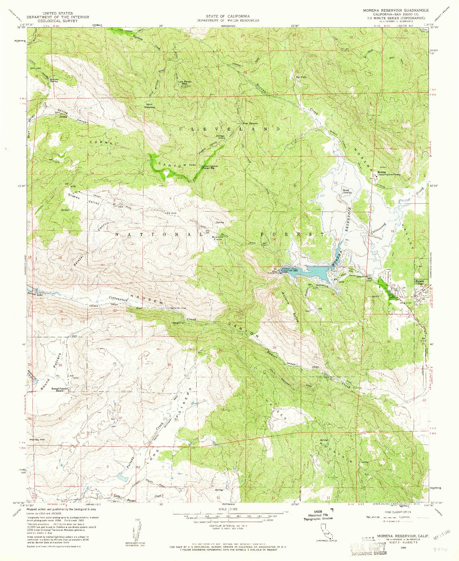 USGS 1:24000-SCALE QUADRANGLE FOR MORENA RESERVOIR, CA 1960