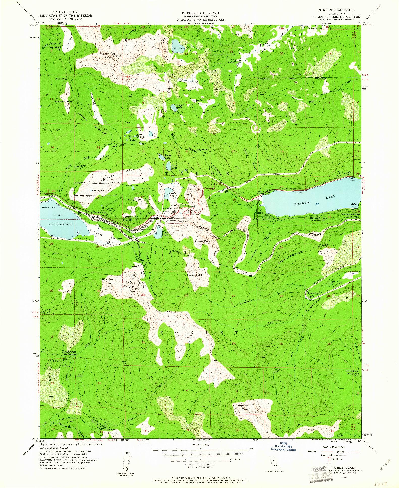 USGS 1:24000-SCALE QUADRANGLE FOR NORDEN, CA 1955
