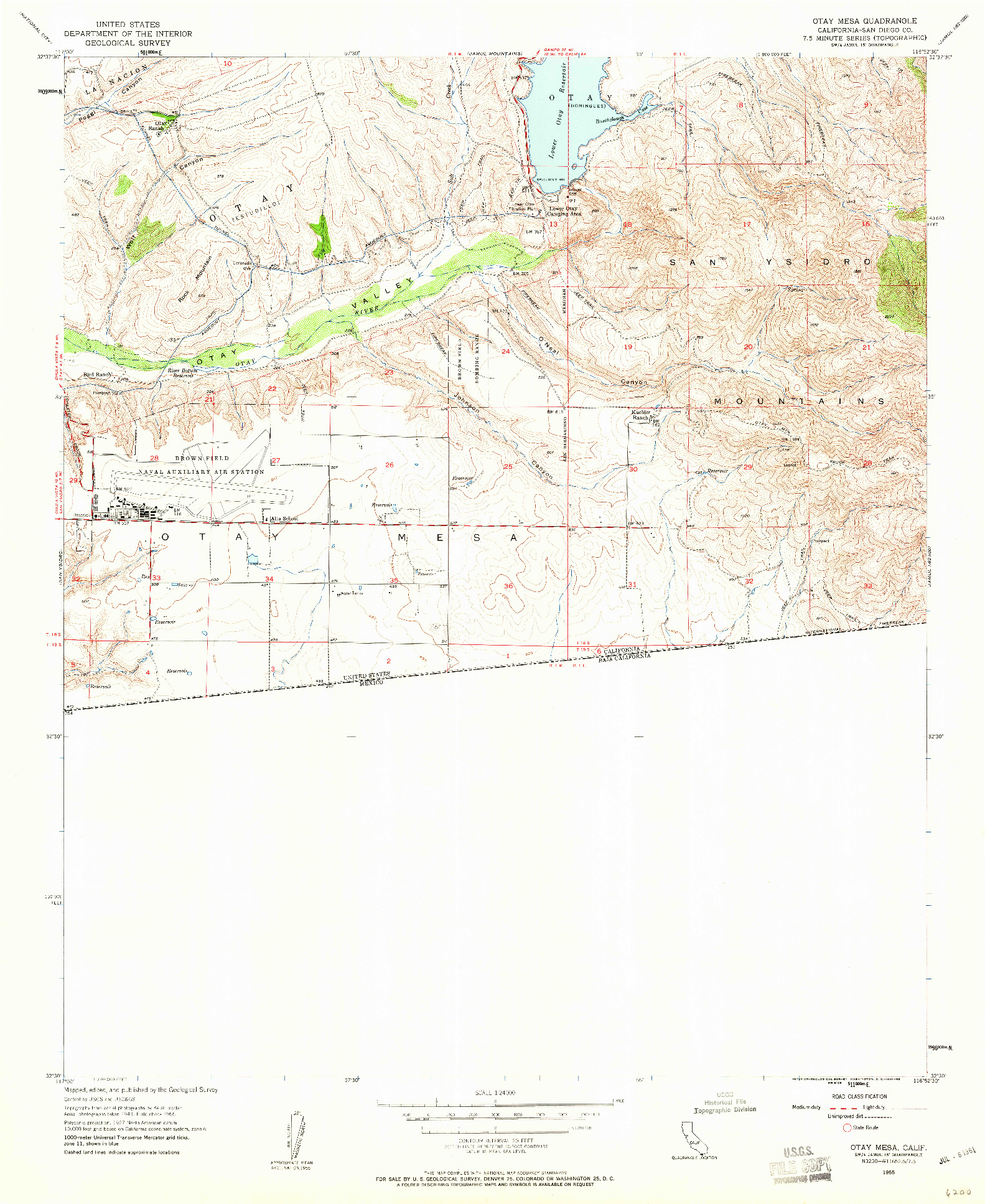 USGS 1:24000-SCALE QUADRANGLE FOR OTAY MESA, CA 1955