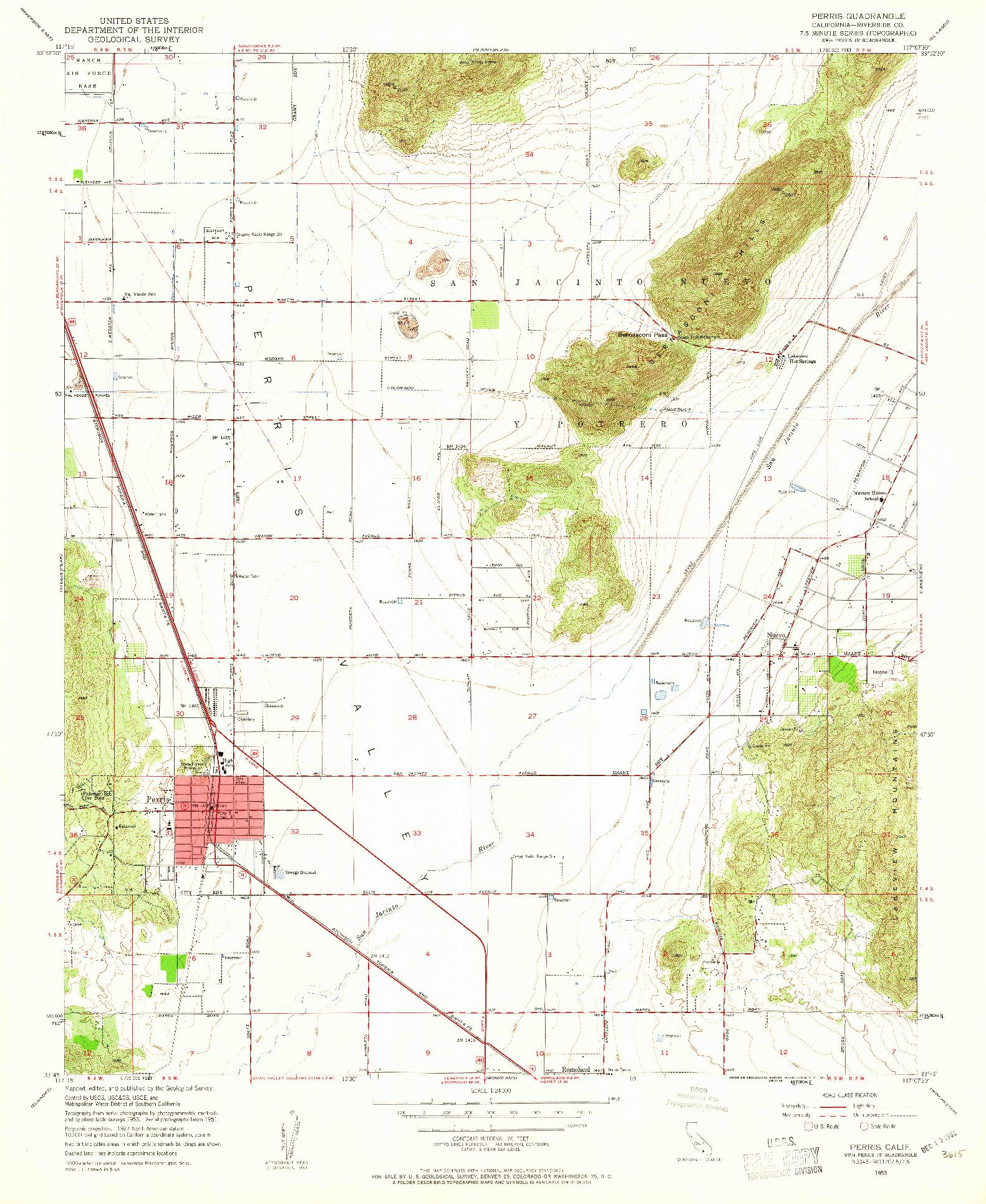 USGS 1:24000-SCALE QUADRANGLE FOR PERRIS, CA 1953