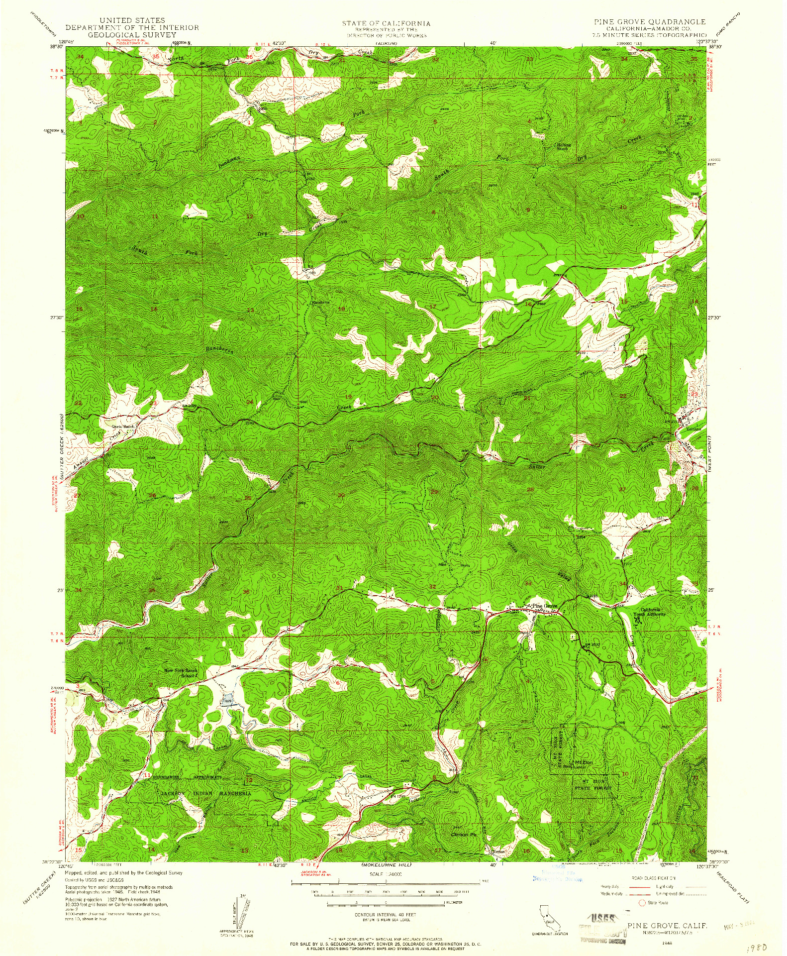 USGS 1:24000-SCALE QUADRANGLE FOR PINE GROVE, CA 1948