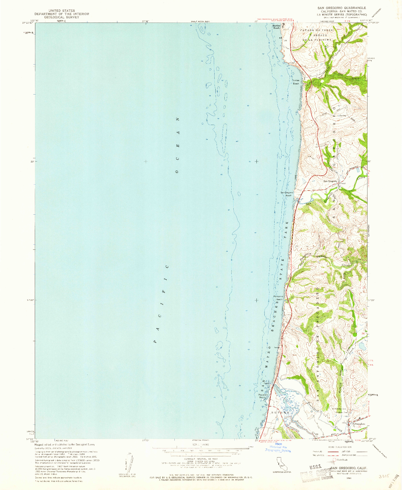 USGS 1:24000-SCALE QUADRANGLE FOR SAN GREGORIO, CA 1961