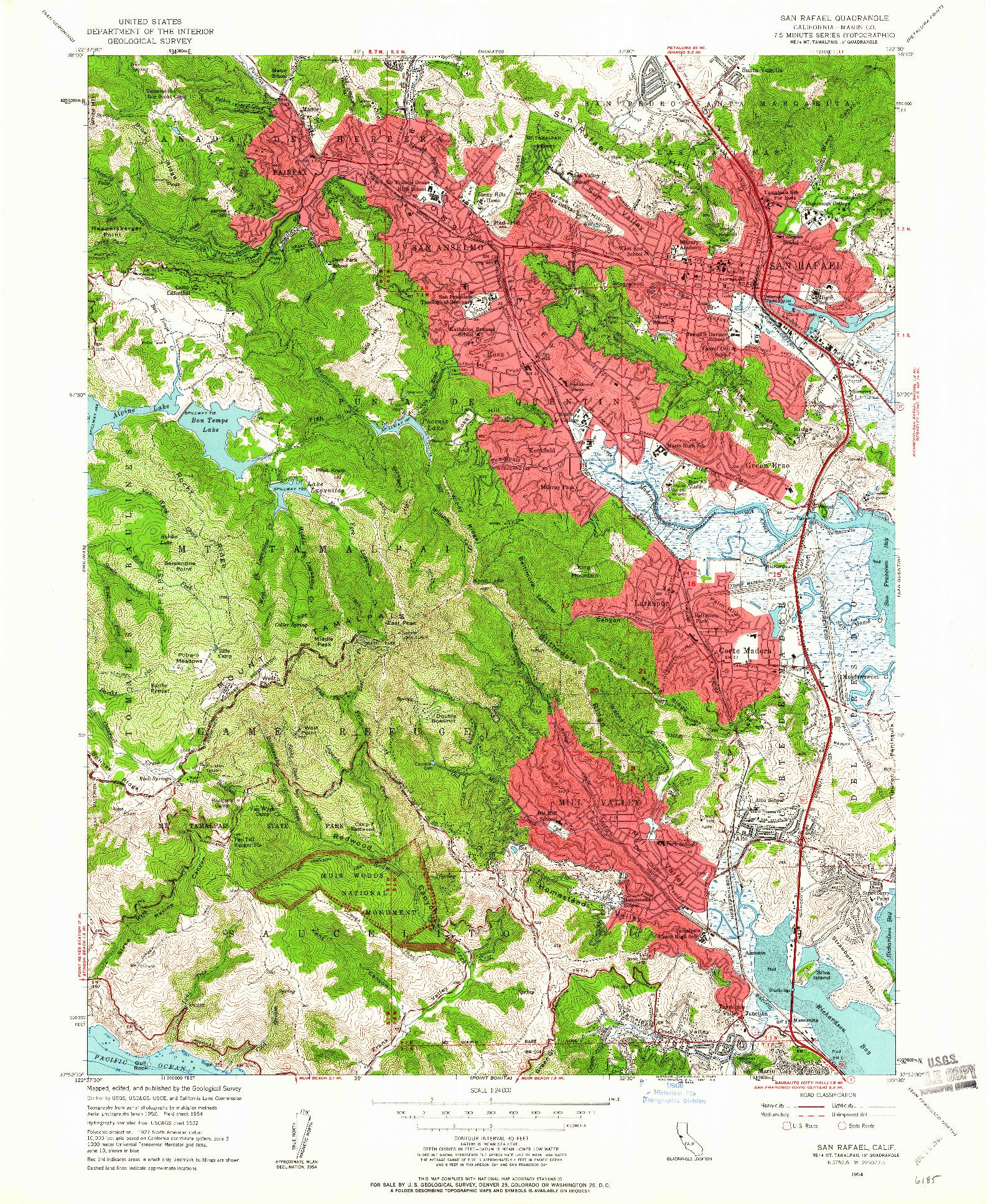 USGS 1:24000-SCALE QUADRANGLE FOR SAN RAFAEL, CA 1954