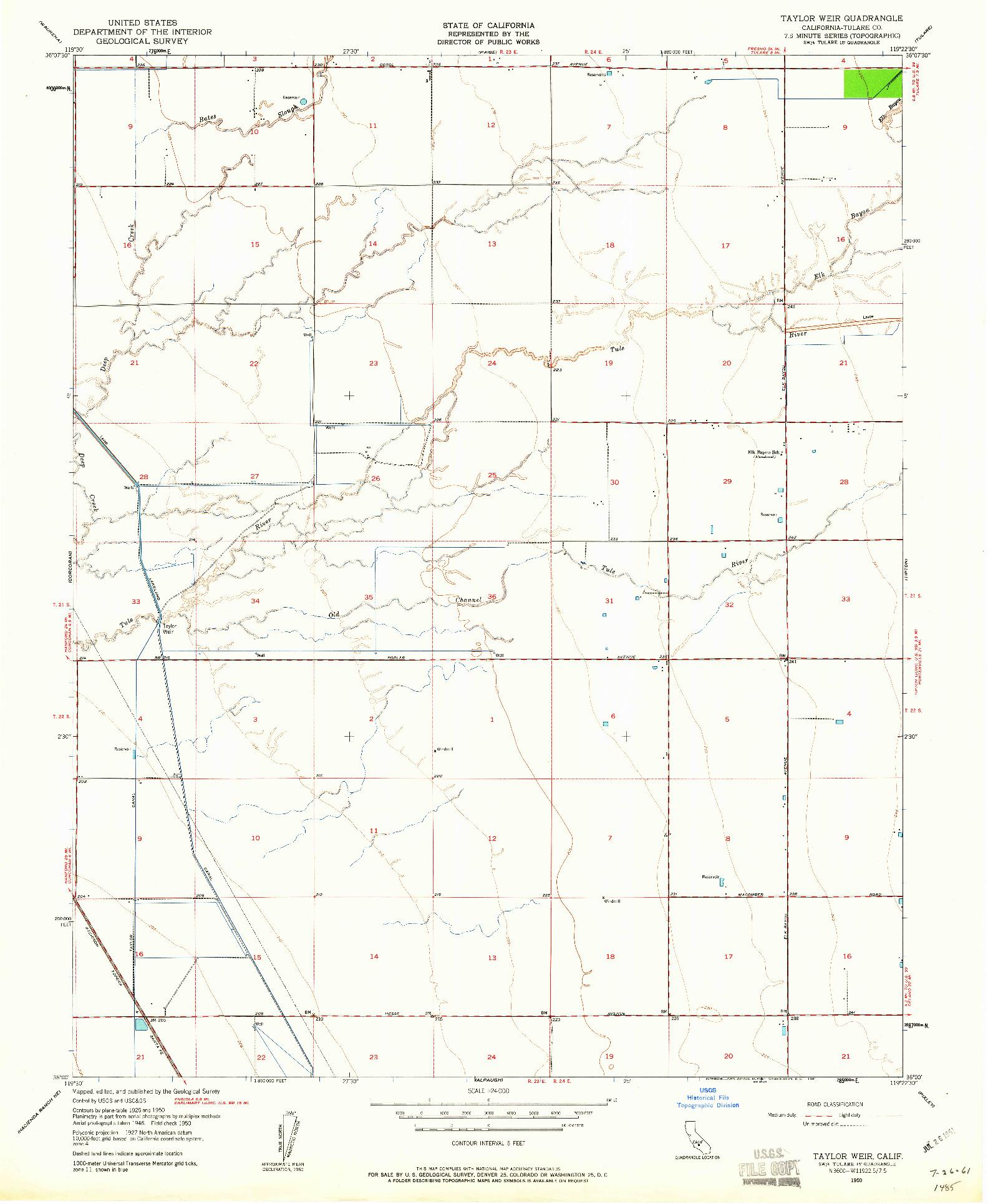 USGS 1:24000-SCALE QUADRANGLE FOR TAYLOR WEIR, CA 1950