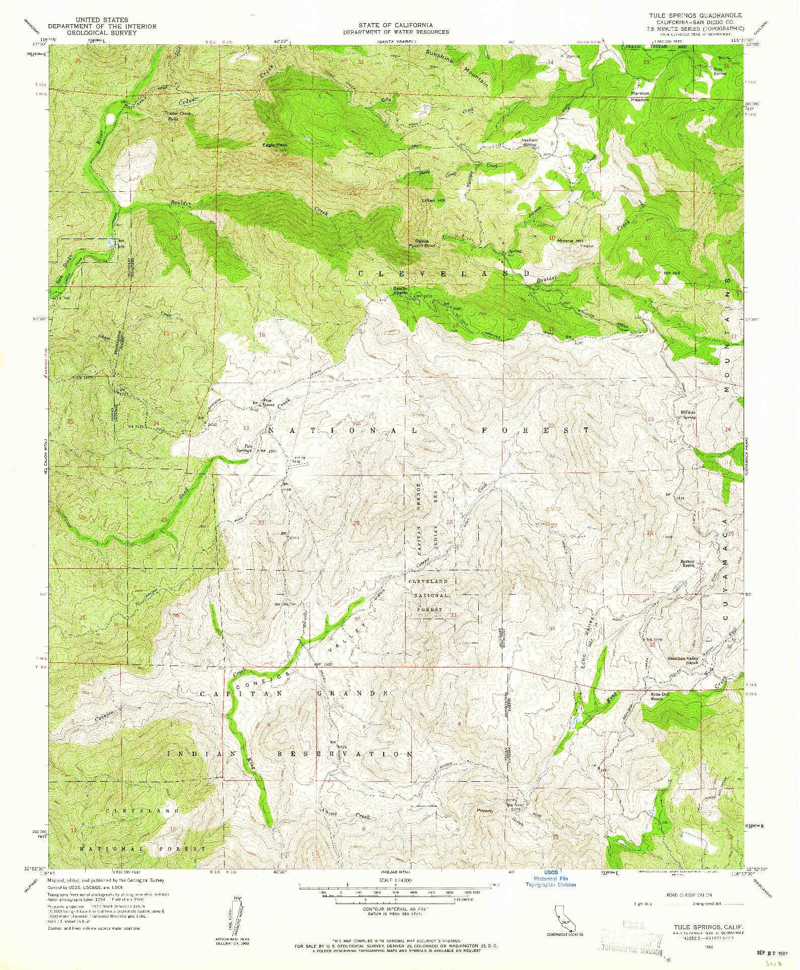 USGS 1:24000-SCALE QUADRANGLE FOR TULE SPRINGS, CA 1960