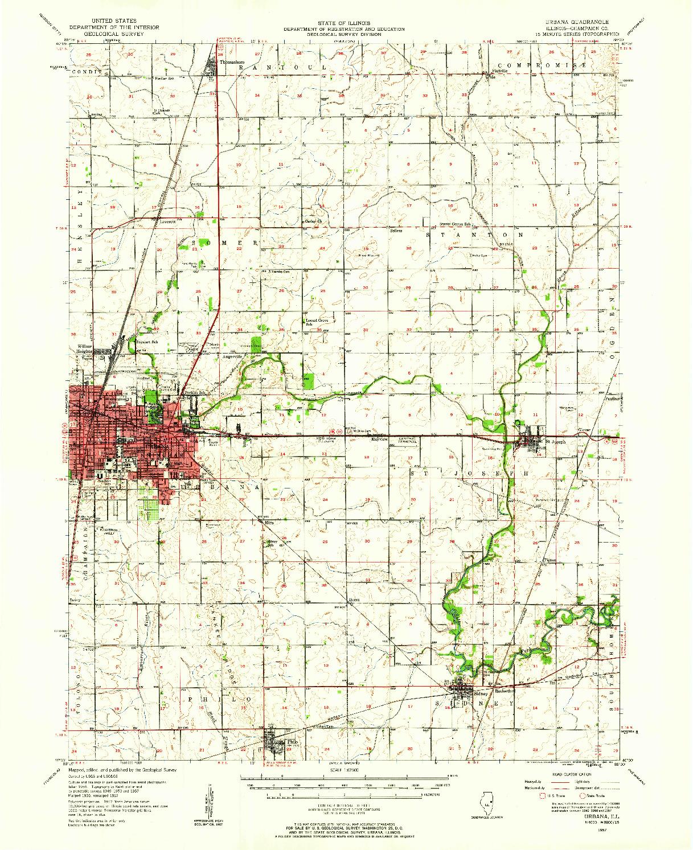 USGS 1:62500-SCALE QUADRANGLE FOR URBANA, IL 1957