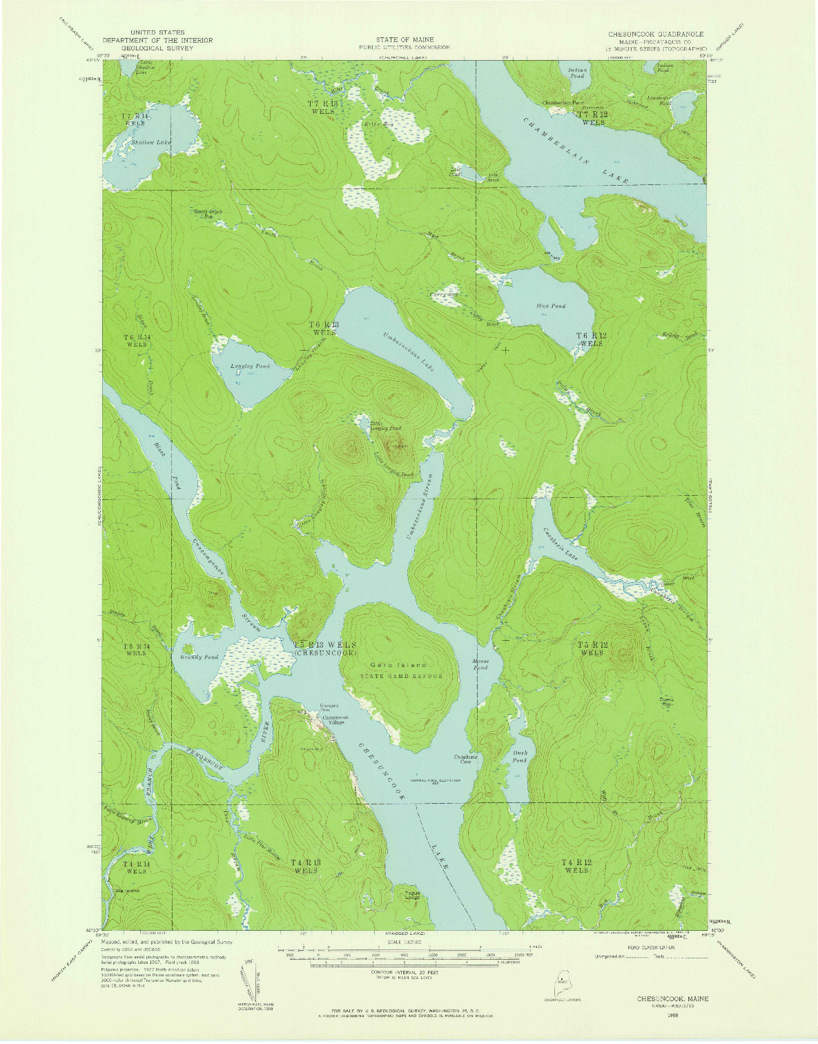 USGS 1:62500-SCALE QUADRANGLE FOR CHESUNCOOK, ME 1958
