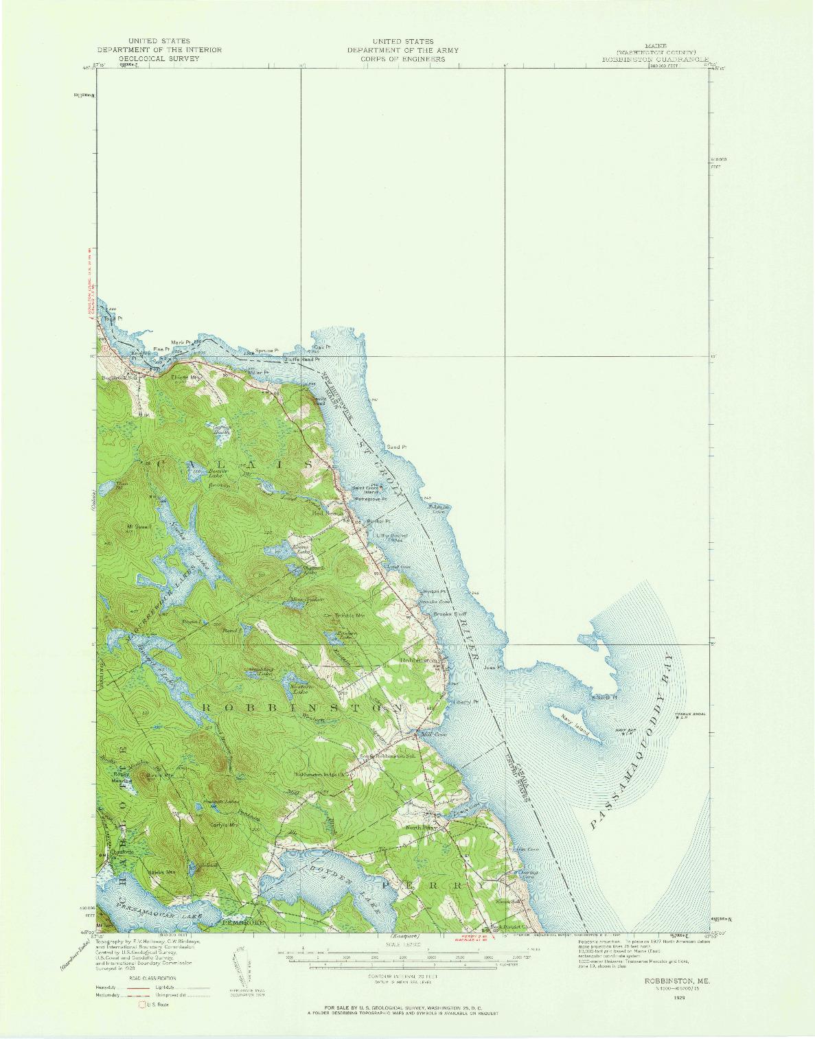 USGS 1:62500-SCALE QUADRANGLE FOR ROBBINSTON, ME 1929