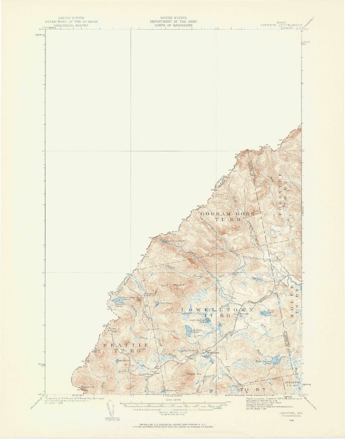 USGS 1:62500-SCALE QUADRANGLE FOR SKINNER, ME 1928
