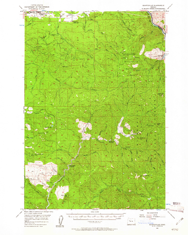 USGS 1:62500-SCALE QUADRANGLE FOR QUARTZVILLE, OR 1956