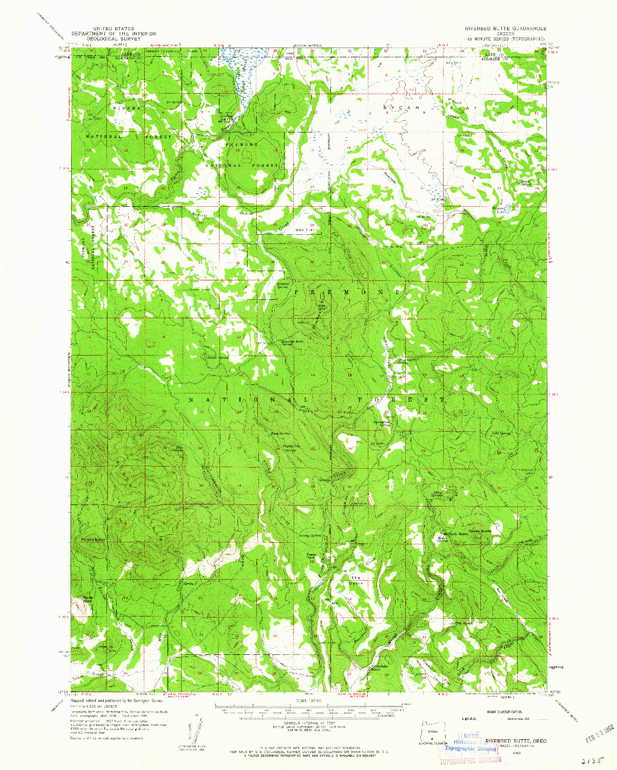 USGS 1:62500-SCALE QUADRANGLE FOR RIVERBED BUTTE, OR 1960
