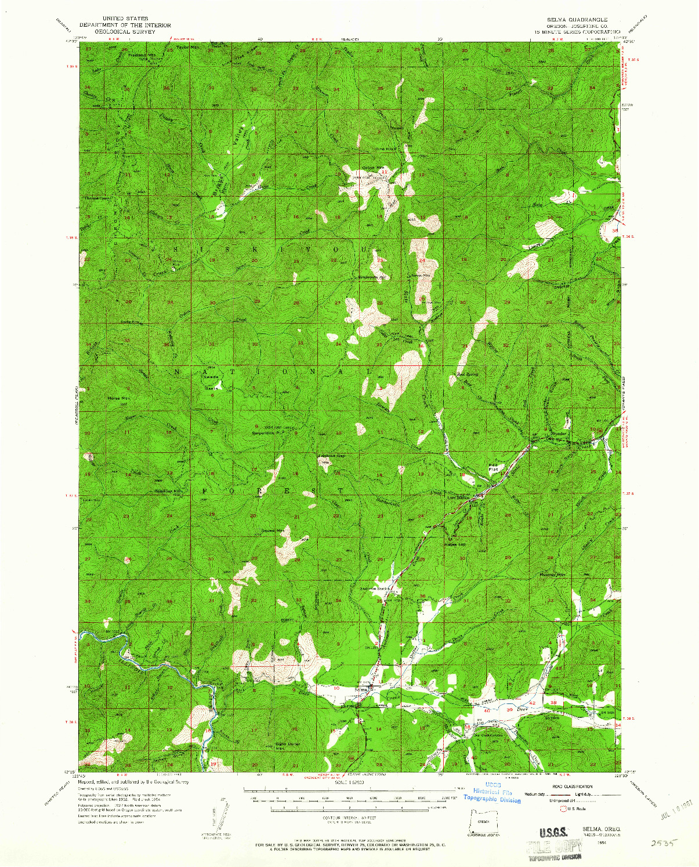 USGS 1:62500-SCALE QUADRANGLE FOR SELMA, OR 1954