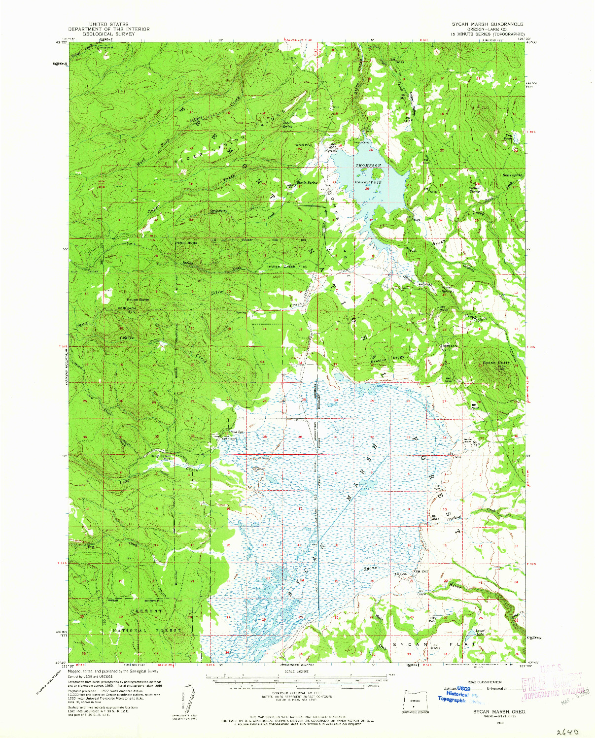 USGS 1:62500-SCALE QUADRANGLE FOR SYCAN MARSH, OR 1960