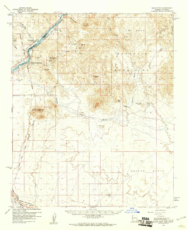 USGS 1:62500-SCALE QUADRANGLE FOR BLACK PEAK, AZ 1959