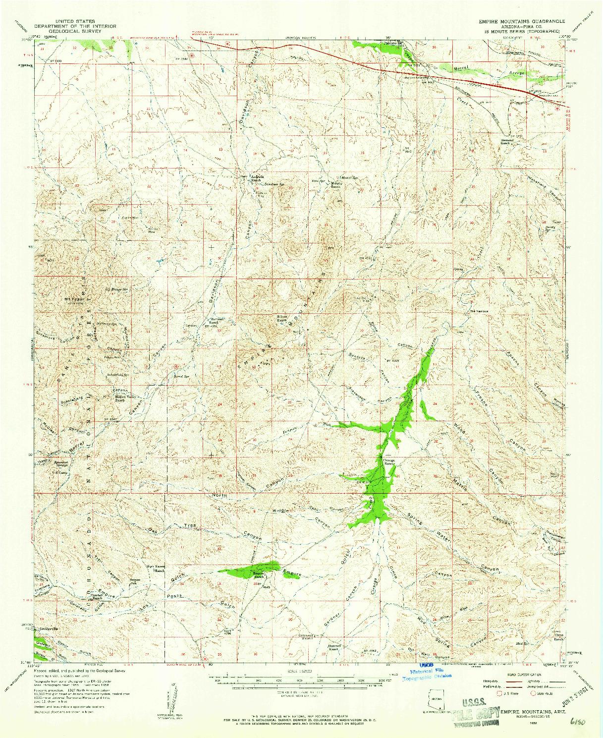 USGS 1:62500-SCALE QUADRANGLE FOR EMPIRE MOUNTAINS, AZ 1958