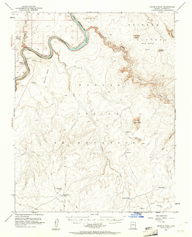 USGS 1:62500-SCALE QUADRANGLE FOR LECHE-E ROCK, AZ 1954