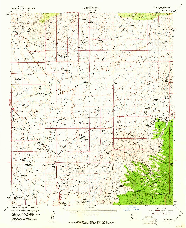 USGS 1:62500-SCALE QUADRANGLE FOR ORACLE, AZ 1959