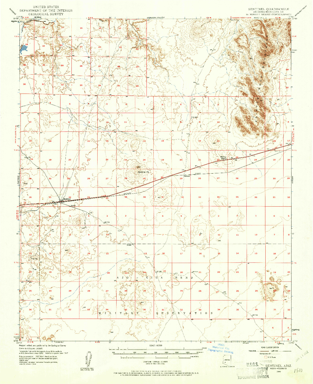 USGS 1:62500-SCALE QUADRANGLE FOR SENTINEL, AZ 1949