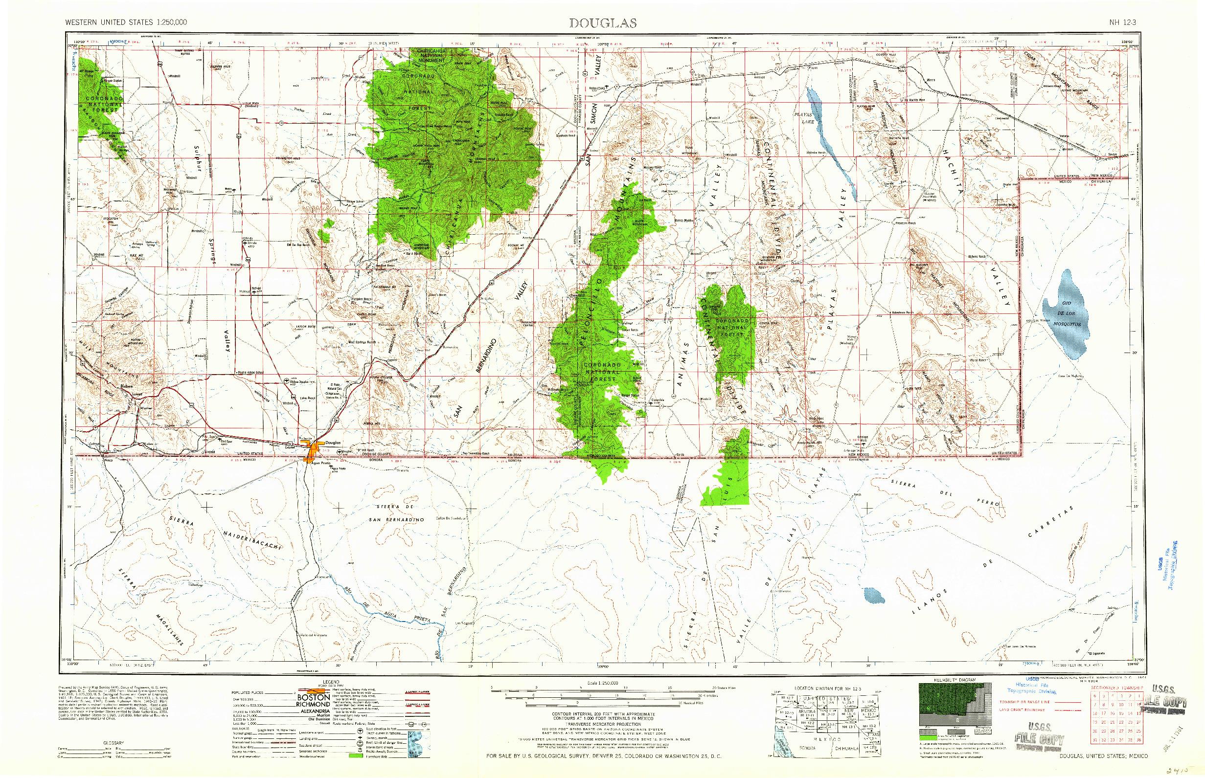 USGS 1:250000-SCALE QUADRANGLE FOR DOUGLAS, AZ 1961