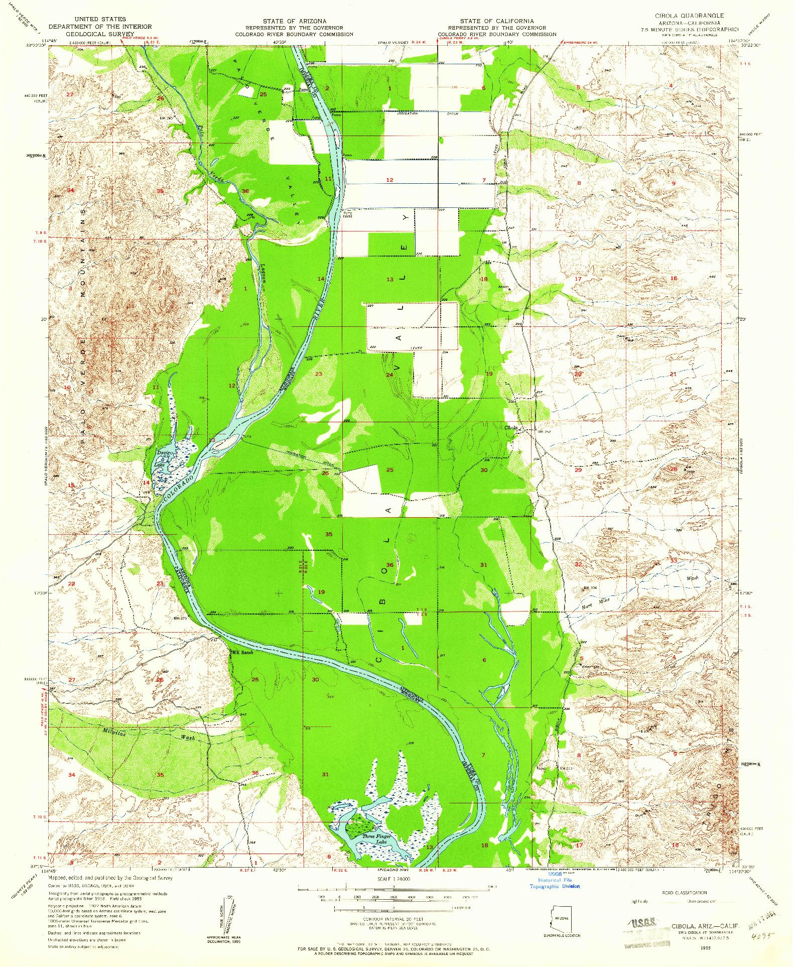 USGS 1:24000-SCALE QUADRANGLE FOR CIBOLA, AZ 1955