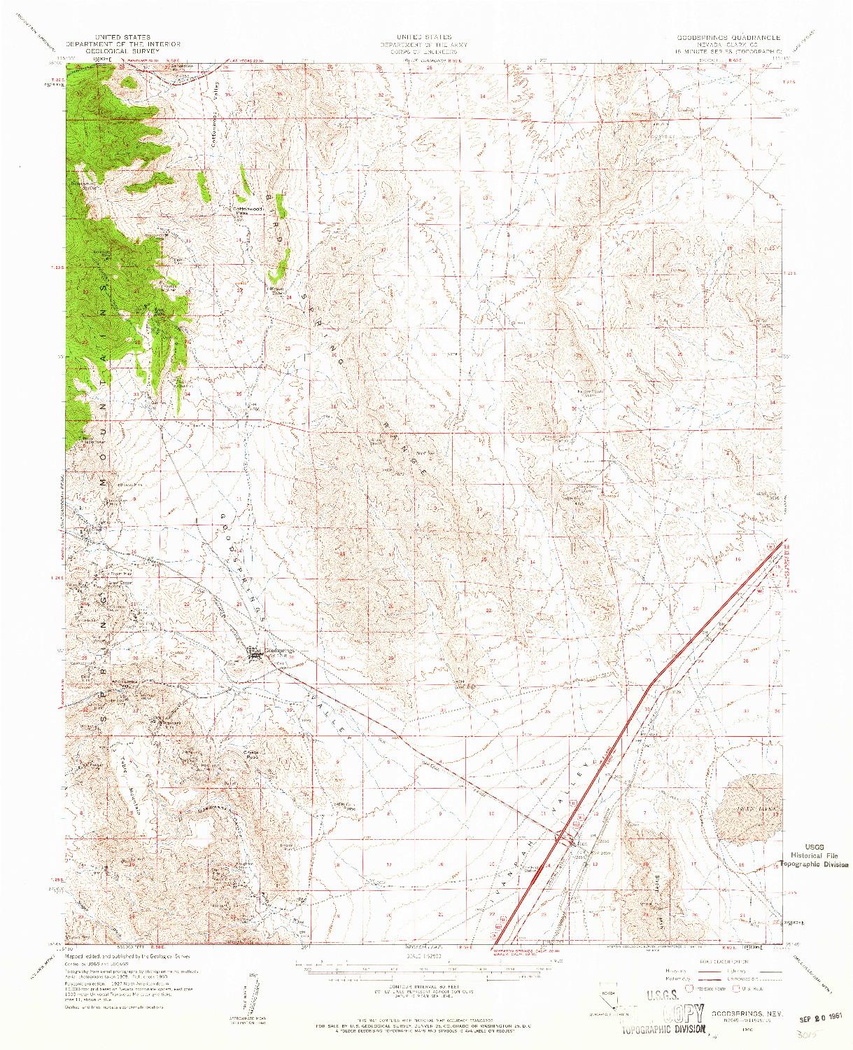 USGS 1:62500-SCALE QUADRANGLE FOR GOODSPRINGS, NV 1960