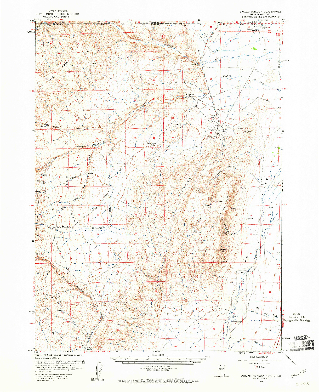 USGS 1:62500-SCALE QUADRANGLE FOR JORDAN MEADOW, NV 1959