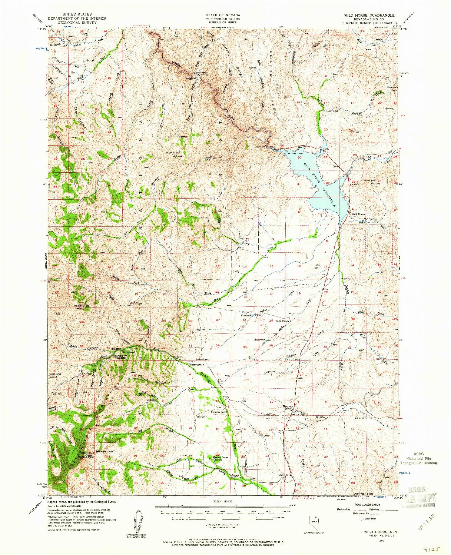 USGS 1:62500-SCALE QUADRANGLE FOR WILD HORSE, NV 1956